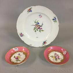 Three Sevres Hand-painted Floral-decorated Porcelain Dishes