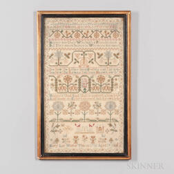 Dated 1786 Mary Lee Needlework Sampler