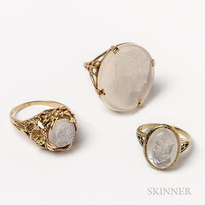 Three 14kt Gold and Carved Moonstone Rings