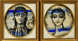 Two Framed Peter Todd Mitchell (New York/Spain, 1924-1988) Ink and Watercolor Female Heads