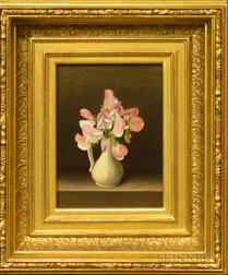 American School, 19th Century      Sweet Pea Blossoms in a White Pitcher.