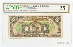 "1941 Panamanian Banco Central de Emision 10 Balboas ""Arias Seven Day Issue,"" Pick-24a, PMG Very Fine 25 NET"