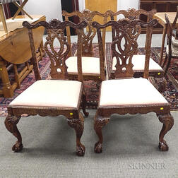 Set of Four Chippendale-style Carved Mahogany Side Chairs