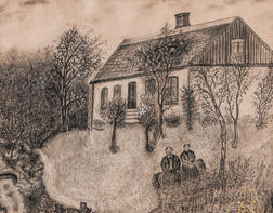 American School, Late 19th Century      Man and Woman Sitting in Front of a House