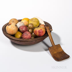 Turned and Red-painted Bowl with Carved Wood Scoop and Stone Fruit