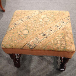 James II Walnut Joint Stool with Persian Wool Upholstery