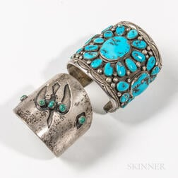 Two Navajo Silver and Turquoise Cuff Bracelets