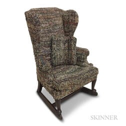 Queen Anne-style Upholstered Winged Rocking Chair