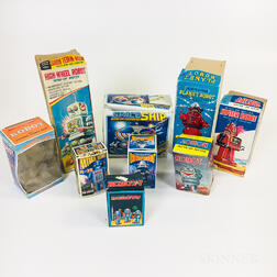 Eight Wind-up Plastic Robot Toys and Original Boxes
