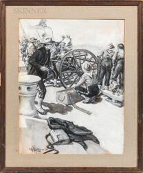 Two Illustrations En Grisaille  :    Charles David Williams (American, 1875-1954), Firing the Shipboard Gatling Gun