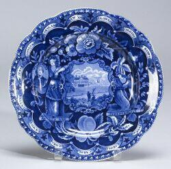Blue and White Transfer Decorated Staffordshire Plate