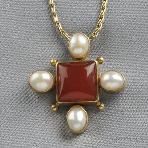 22kt Gold, Sterling Silver, Carnelian, and Pearl Pendant