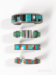 Four Zuni, Navajo, and Mexican Inlay Bracelets