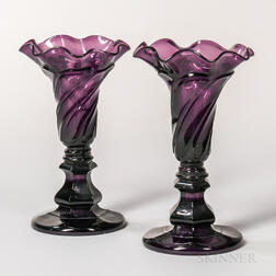 Pair of Amethyst Pressed Glass Twisted Loop Vases
