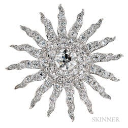 Antique Diamond Sunburst Brooch, Howard & Co.