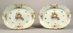 Pair of Chinese Export Polychrome Decorated Oval Armorial Platters