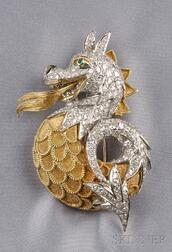 18kt Bicolor Gold and Diamond Dragon Clip/Brooch