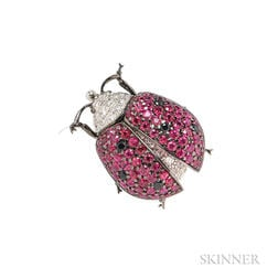 18kt White Gold, Ruby, and Diamond Ladybug Brooch