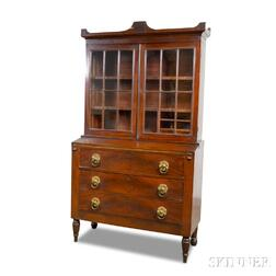 Federal Mahogany Veneer Glazed Desk/Bookcase