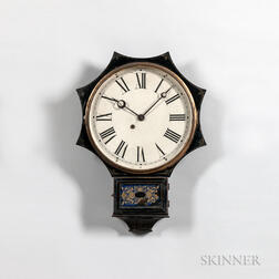 Paint-decorated Iron-front Terry Clock Company Wall Clock