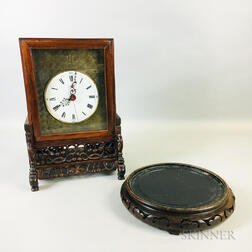 Table Clock in a Carved Wood Box with Stand