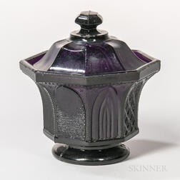 Amethyst Pressed Glass Gothic Arch Covered Sugar Bowl