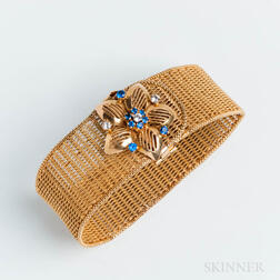 Victorian Revival 18kt Gold, Diamond, and Sapphire Mesh Bracelet