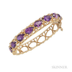 14kt Gold, Amethyst, and Cultured Pearl Bracelet