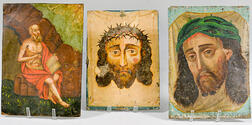 Three Painted Tin Retablos