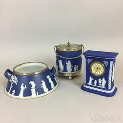 Three Wedgwood Dark Blue Jasper Items