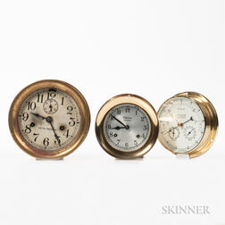 Two Brass Ship's Clocks and Barometer