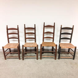 Four Country Ladder-back Side Chairs