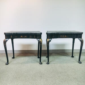 Pair of Queen Anne-style Japanned Game Tables