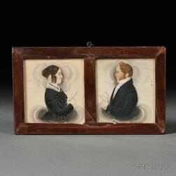 James Sanford Ellsworth (American, 1802/03-1874)      Pair of Husband and Wife Portrait Miniatures.