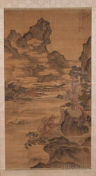 Hanging Scroll Depicting a Boat Ferrying a Crane