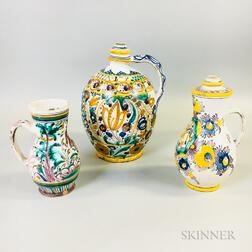 Three Continental Polychrome Salt-glazed Pottery Vessels