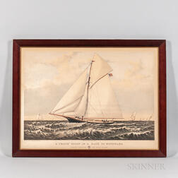 A 'Crack' Sloop in a Race to Windward./Yacht Gracie off New York
