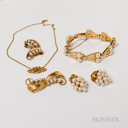 Group of Gold and Cultured Pearl Jewelry