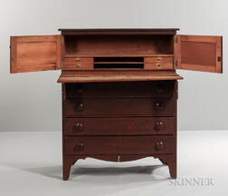 Red-painted Maple Country Secretary Desk