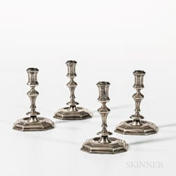 Four Hungarian Silver Candlesticks