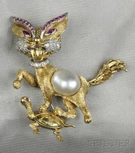 14kt Gold Gem-set Cat and Turtle Brooch