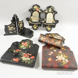 Six Mostly Lacquered Floral-decorated Items.