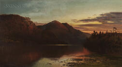 George Herbert McCord (American, 1848-1909)      Crescent Moon over Lake Placid