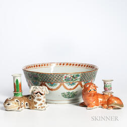 Export Porcelain Punch Bowl and Two Pug Candlesticks