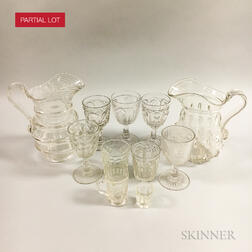 Approximately Sixty Colorless Pressed Glass Vessels