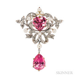 Edwardian Pink Tourmaline and Diamond Pendant/Brooch