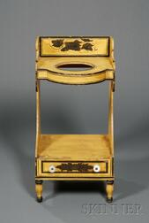 American Classical Stencil Decorated and Yellow Painted Washstand