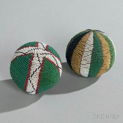 Two Lakota Beaded Hide Balls