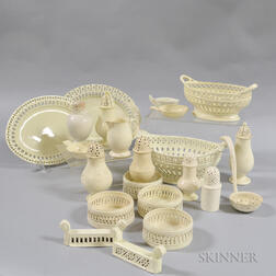 Twenty-two Creamware Items