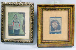 Two Framed Painted Tin Retablos